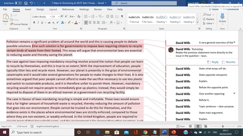 ielts essay - model answer for teaching essay structure