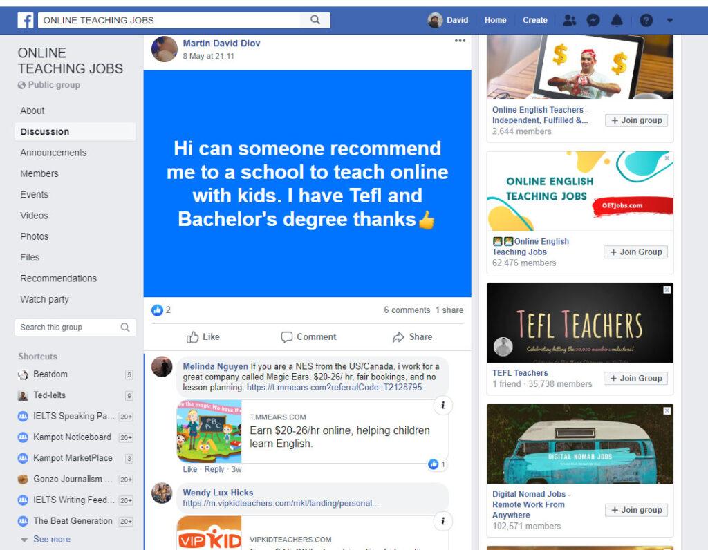 online esl teaching facebook group